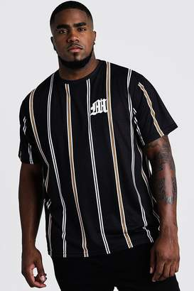 boohoo Big & Tall Stripe T-Shirt With M Embroidery