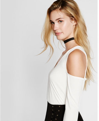 Express v-neck cold shoulder long sleeve tee $39.90 thestylecure.com