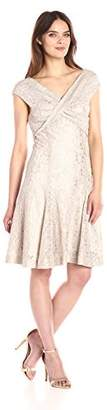 Tahari by Arthur S. Levine Women's Rouched Bodice Lace Dress