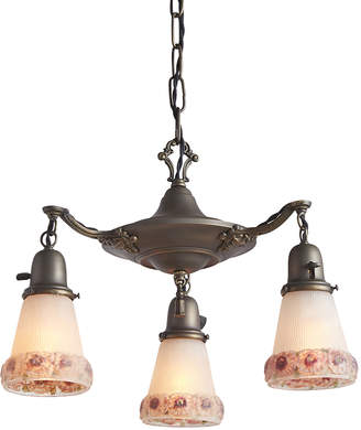 Rejuvenation Aladdin Pan Chandelier w/ Painted Floral Shades