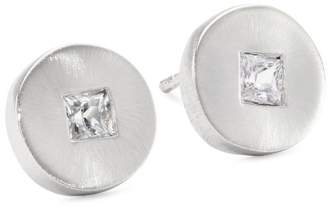 """Rotenier Disc and Square"""" Sterling Disc with Sapphires Studs"""