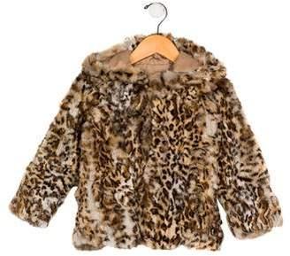 Adrienne Landau Girls' Printed Fur Jacket