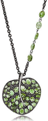 Michael Aram Botanical Leaf Pendant Necklace with Peridot & Diamonds