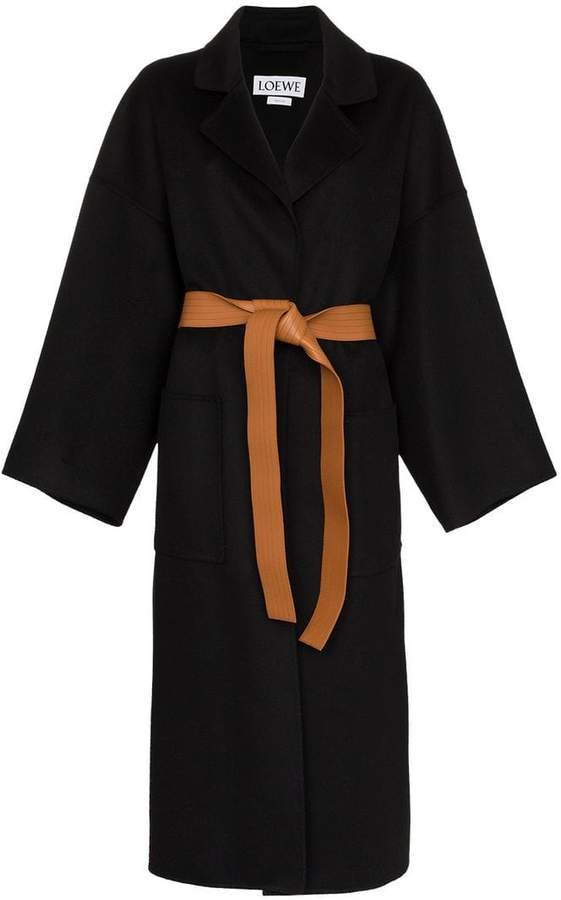 Cashmere-wool blend leather-belted coat