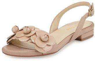 Taryn Rose Ida Flower Flat Slingback Sandal, Nude $255 thestylecure.com