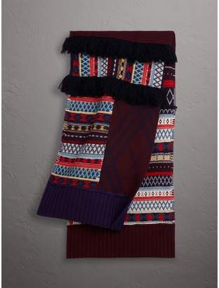 Burberry Fair Isle Wool Cashmere Patchwork Scarf