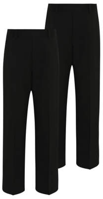 George Boys Black Long Leg Half Elastic School Trouser 2 Pack