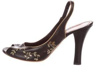 John Galliano Leather Slingback Pumps