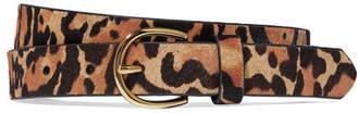 Frame Leopard-print Calf Hair Belt - Leopard print