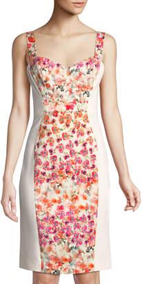 Black Halo Sadie Floral-Paneled Bustier Sleeveless Dress