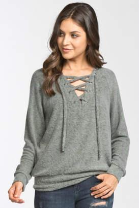 Cherish Lace-Up Pullover Sweater