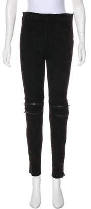Saint Laurent Suede High-Rise Skinny Pants Black Suede High-Rise Skinny Pants