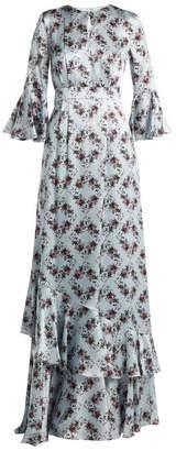 Erdem Venice Keiko Print Silk Gown - Womens - Blue Print