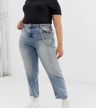 Asos DESIGN Curve Florence authentic straight in aged wash with detachable chain detail