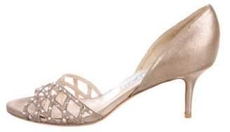 Jimmy Choo Embellished d'Orsay Sandals Beige Embellished d'Orsay Sandals