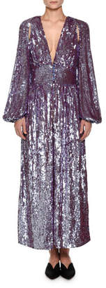 ATTICO Plunging Long-Sleeve Tulle Evening Gown with Allover Sequins