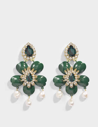 Shourouk Dahlia Green Earrings in Green Brass, Swarovski Crystals and Pearls