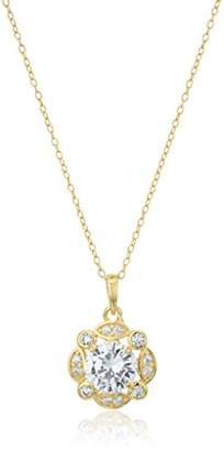 18k Gold Plated Sterling Silver Cubic Zirconia Pendant Necklace