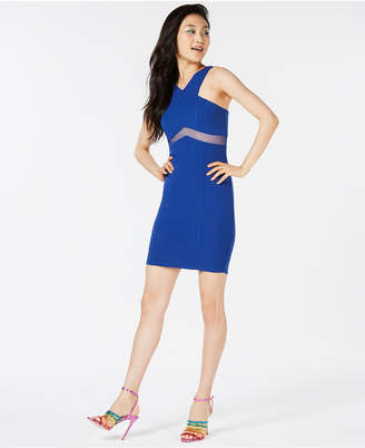 Trixxi Juniors' Mesh-Inset Bodycon Dress