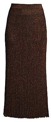 Michael Kors Women's Metallic Rib-Knit Midi Skirt