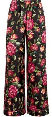 Dolce & Gabbana Floral-Print Silk Wide-Leg Pants
