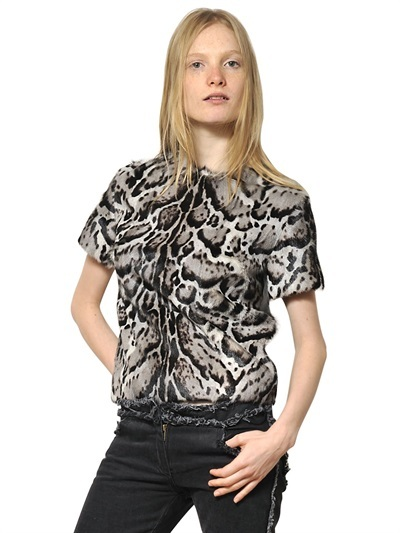 Christopher Kane Leopard Printed Ponyskin And Nappa Top