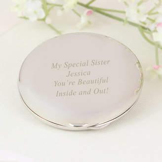 Oli & Zo Engraved Silver Round Compact Mirror