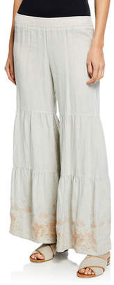 Johnny Was Sienne Wide-Leg Tiered Linen Palazzo Pants w/ Embroidered Hem, Plus Size