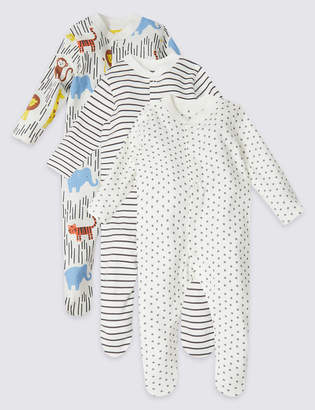583fd7ea4eda Marks and Spencer 3 Pack Organic Cotton Safari Sleepsuits
