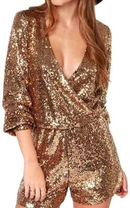 f50492649a Mfasica Womens Sequin Glitter Wrap-Front Rockabilly Romper Shorts M