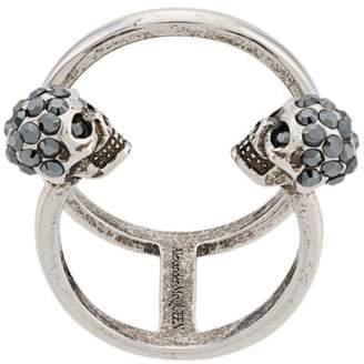 Alexander McQueen Twin Skull Double ring