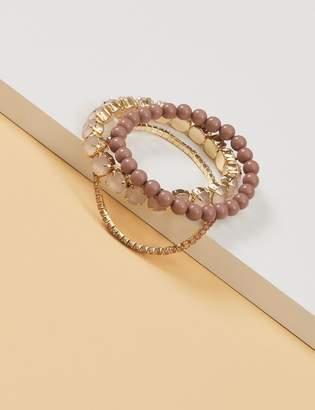 Lane Bryant 3-Row Bead & Stone Stretch Bracelet Set