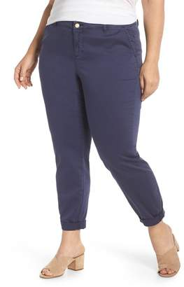 Caslon Boyfriend Stretch Cotton Chino Pants (Plus Size)