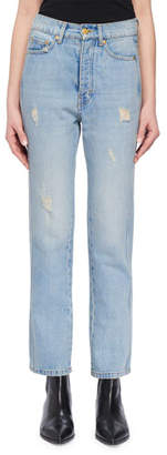 Victoria Victoria Beckham High-Waist Cropped Straight-Leg Jeans w Distressing