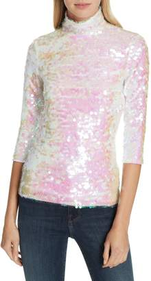 Milly Sequin Mock Neck Top