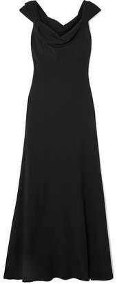 Oscar de la Renta Draped Crepe Gown - Black