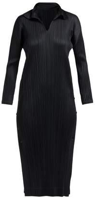 Pleats Please Issey Miyake Long Sleeve Tech Pleated Dress - Womens - Black