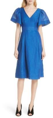 Tracy Reese Open Sleeve Backless Linen Blend Dress