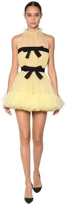 Ruffled Tulle Mini Dress W/ Bows