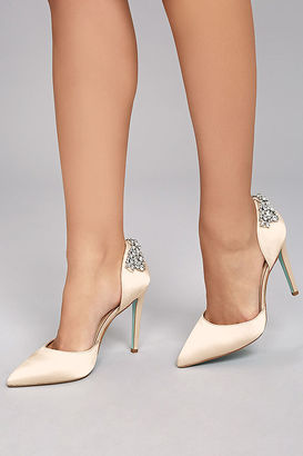 Blue by Betsey Johnson Rosie Champagne Satin Pumps $129 thestylecure.com