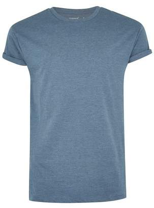 Topman Mens Blue Denim Rolled Sleeve Muscle Fit T-Shirt