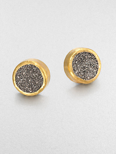 Gurhan Druzy, Sterling Silver & 24K Yellow Gold Earrings