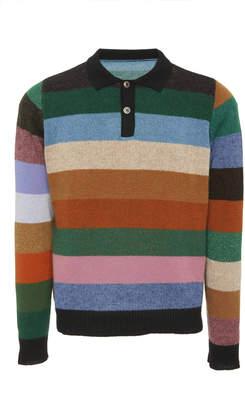 The Elder Statesman Rugby Stripe Cashmere Collared Shirt