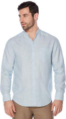 Cubavera 100% Linen Long Sleeve Banded Collar Button Down Shirt