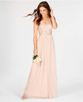 Adrianna Papell Sequined Tulle Gown