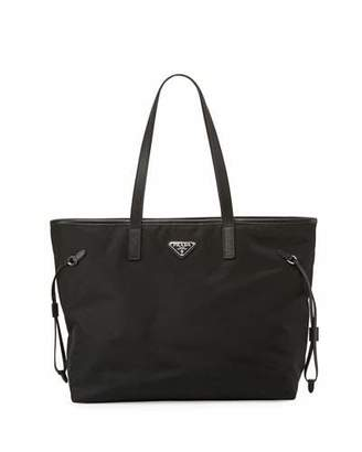Prada Vela Side-Cinch Shopping Tote Bag, Black (Nero) $1,050 thestylecure.com