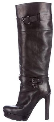 Belstaff Leather Knee-High Boots $275 thestylecure.com