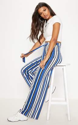 PrettyLittleThing Cobalt Tie Waist Stripe Wide Leg Trouser