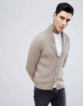 Asos DESIGN Knitted Cable Knit Cardigan In Tan