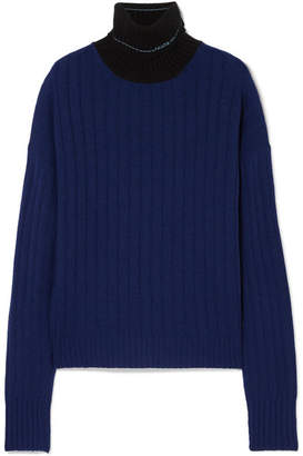 Prada Two-tone Ribbed Cashmere Turtleneck Sweater - Navy